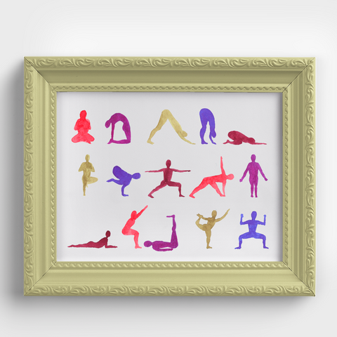 Yoga Pose Sequence Yellow Watercolor Print