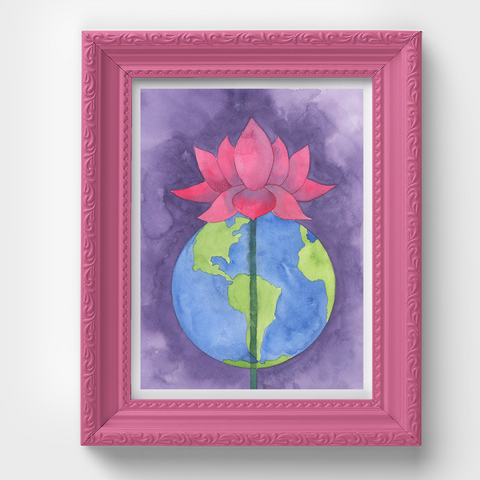Lotus Flower Earth Yoga Watercolor Print