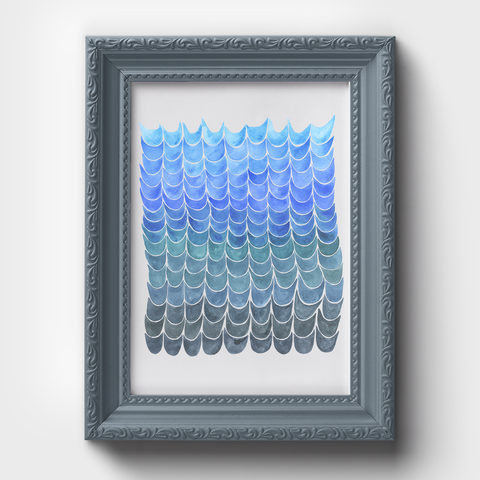 Fish Scale Blue Pattern Watercolor Print