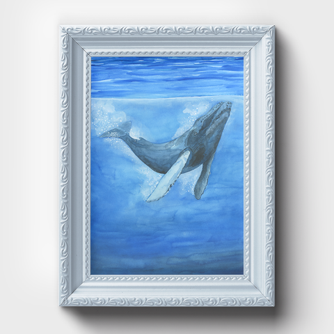 Blue Whale Underwater Ocean Watercolor Print