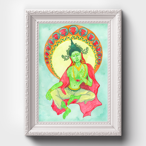 Tara Watercolor Painting, Wall Art Print, Female Buddha