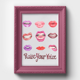 "Women's Empowerment ""Raise Your Voice"" Watercolor Print"