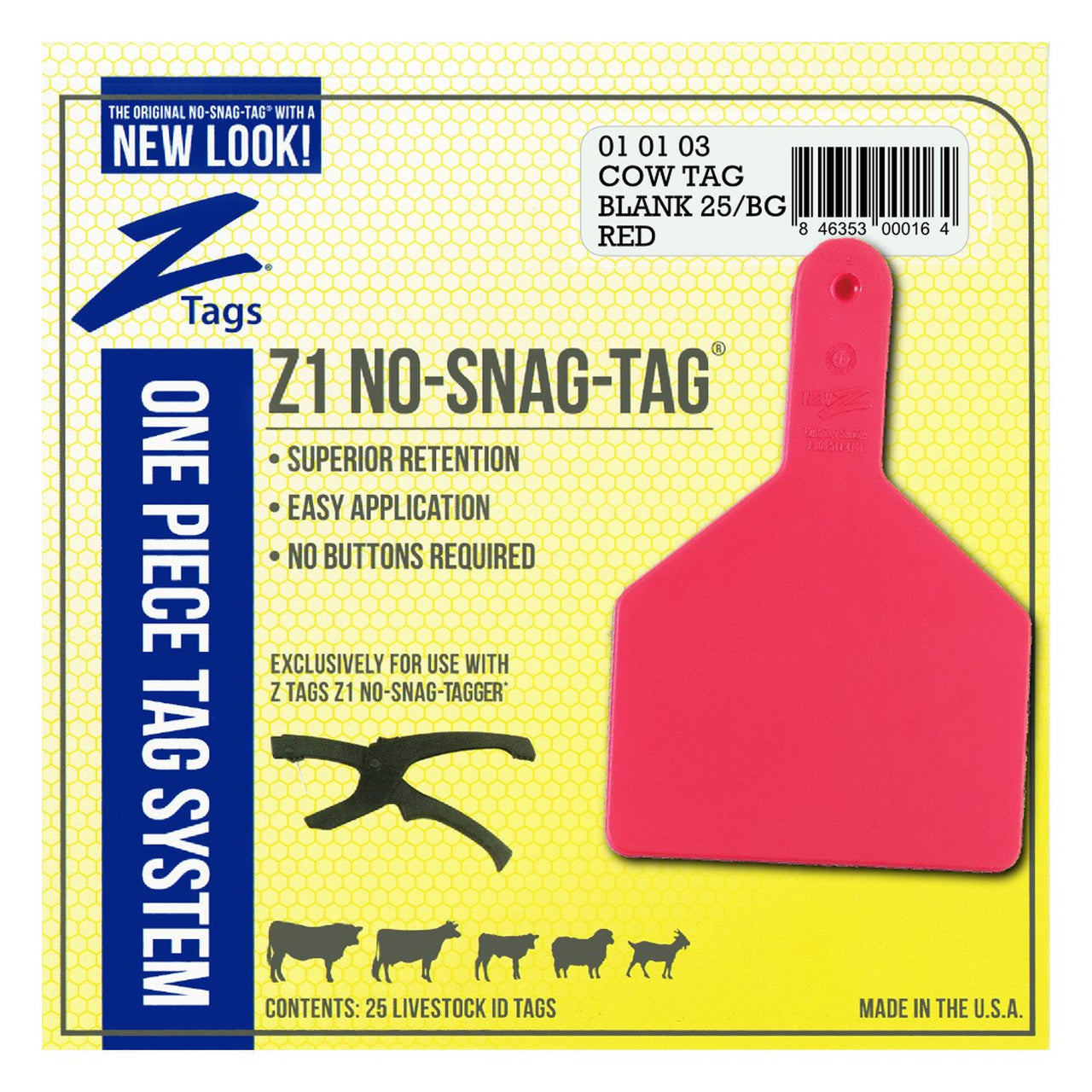 Z Tags 1 Piece Cow Blank (Red) 25 Pack - 1 Piece Cow Identification Blank Tag Z Tags - Canada