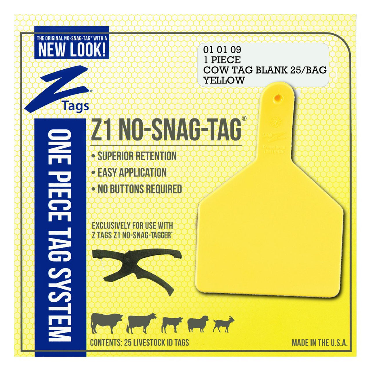 Z Tags 1 piece cow blank (Yellow)