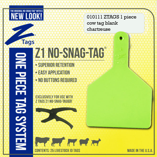 Z Tags 1 Piece Cow Blank (Chartreuse) 25 Pack - 1 Piece Cow Identification Blank Tag Z Tags - Canada