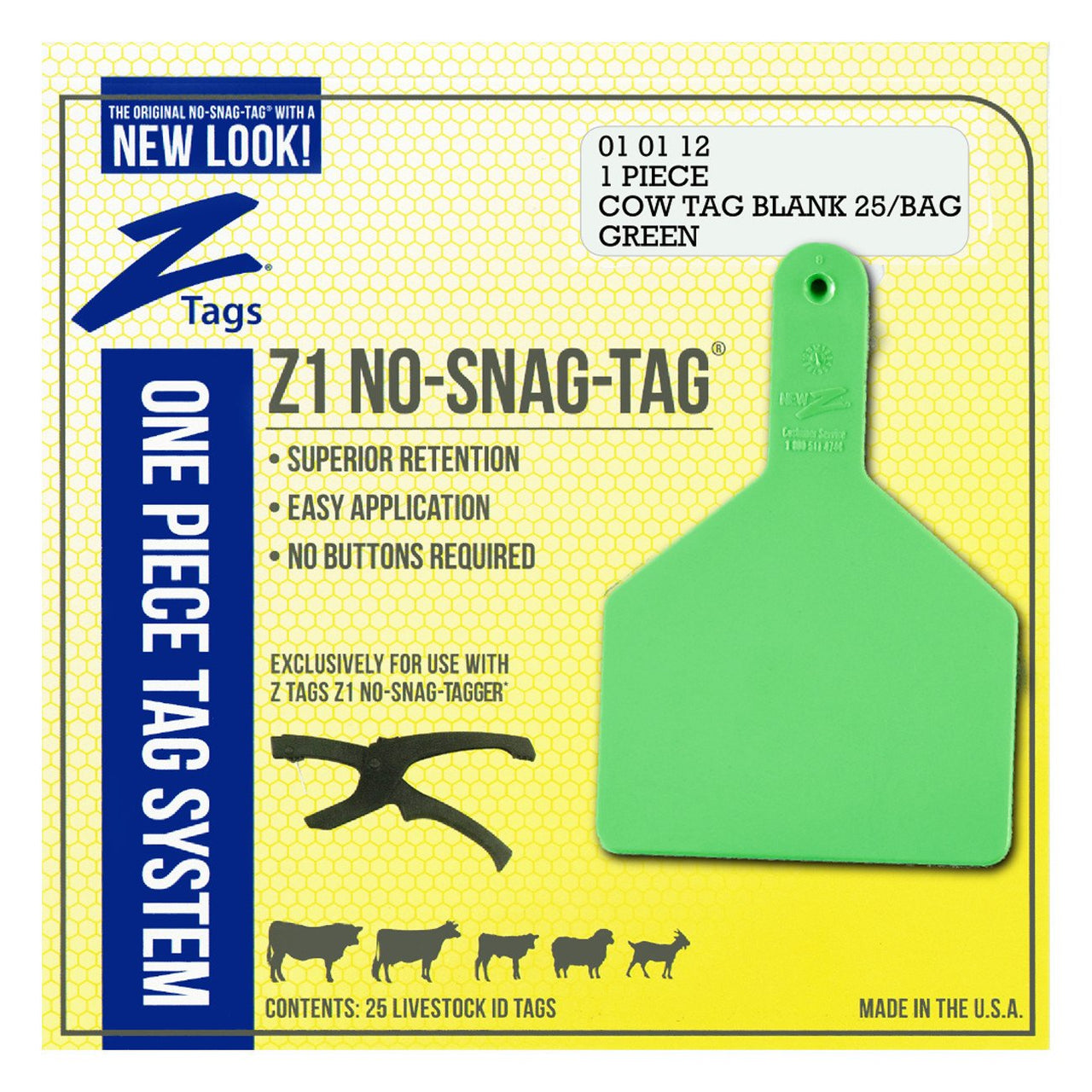 Z Tags 1 Piece Cow Blank (Green) 25 Pack - 1 Piece Cow Identification Blank Tag Z Tags - Canada