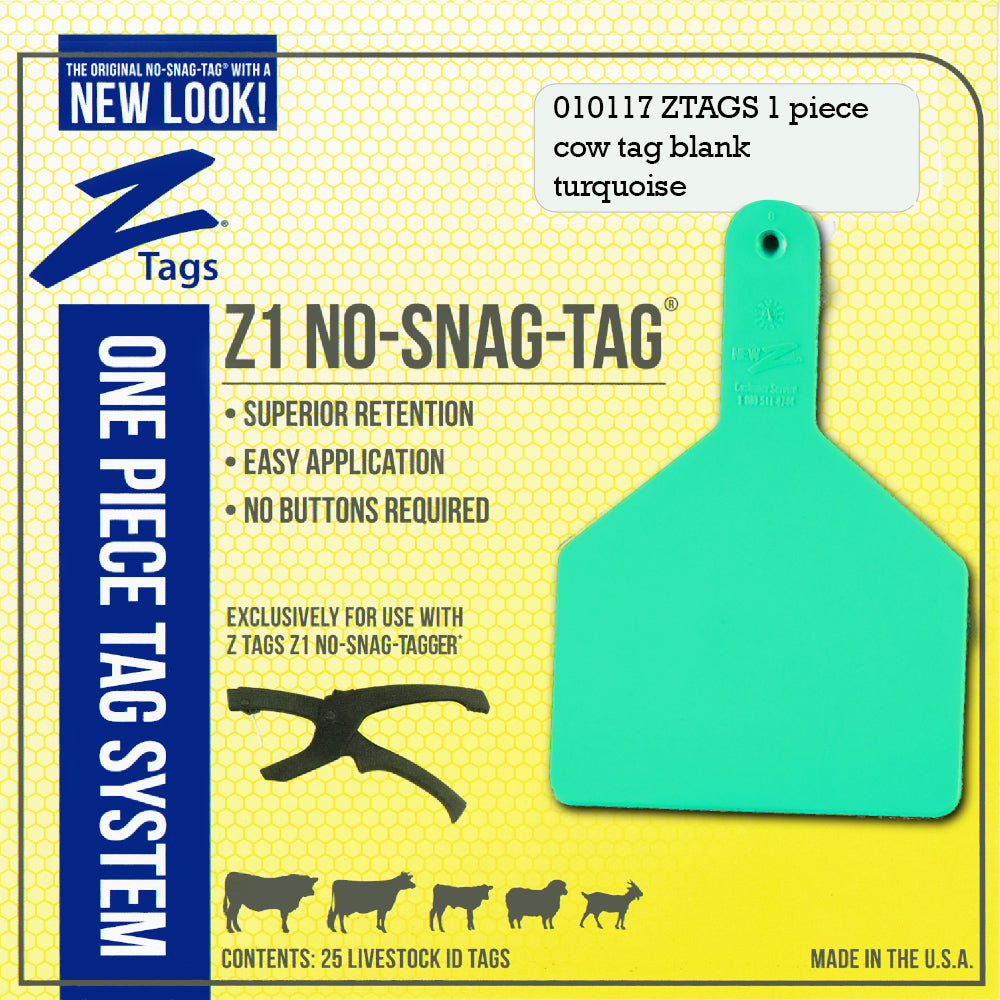 Z Tags 1 Piece Cow Blank (Turquoise) 25 Pack - 1 Piece Cow Identification Blank Tag Z Tags - Canada
