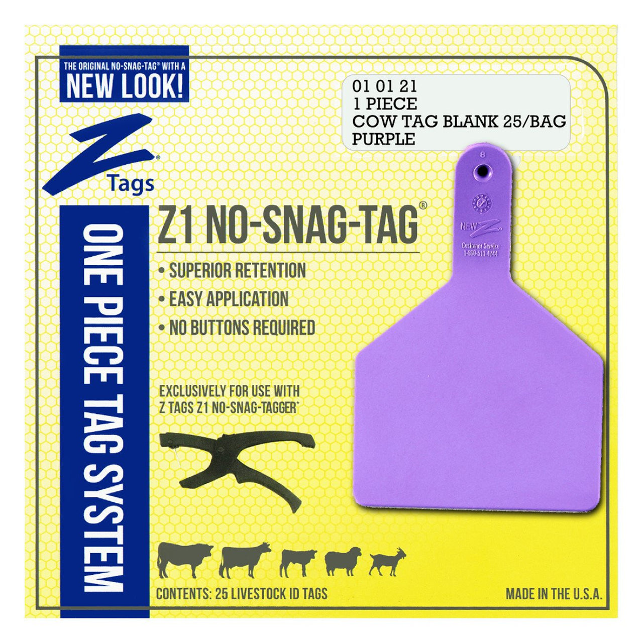 Z Tags 1 Piece Cow Blank (Purple) 25 Pack - 1 Piece Cow Identification Blank Tag Z Tags - Canada