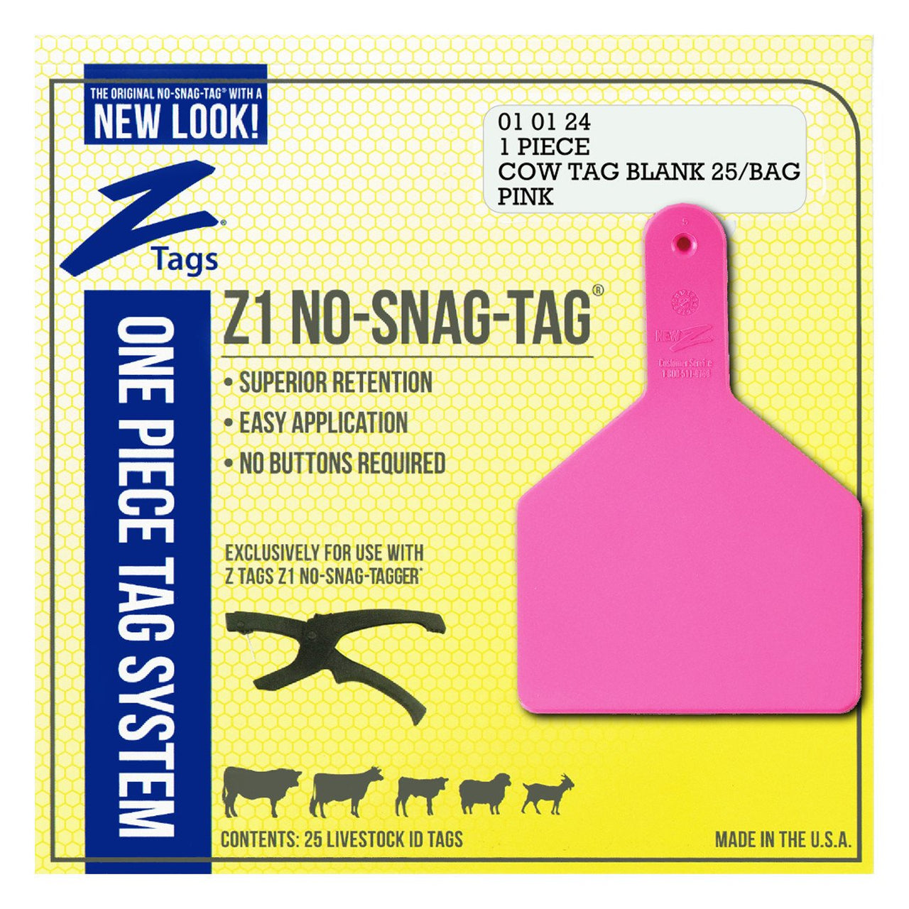Z Tags 1 Piece Cow Blank (Pink) 25 Pack - 1 Piece Cow Identification Blank Tag Z Tags - Canada