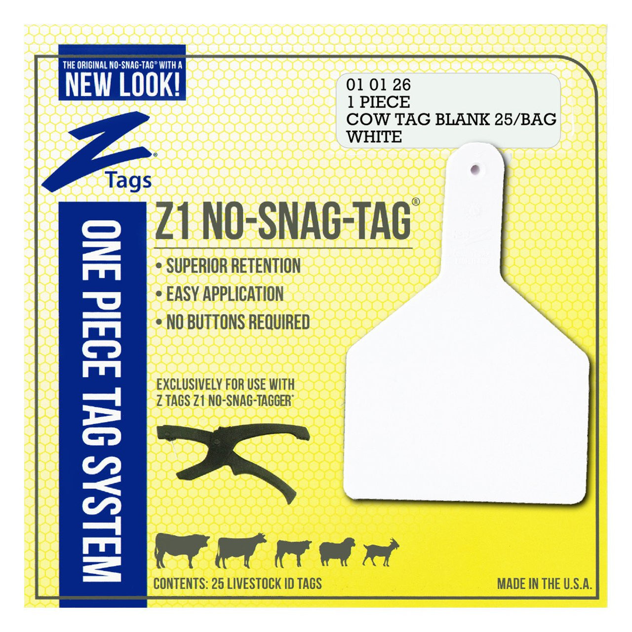Z Tags 1 Piece Cow Blank (White) 25 Pack - 1 Piece Cow Identification Blank Tag Z Tags - Canada