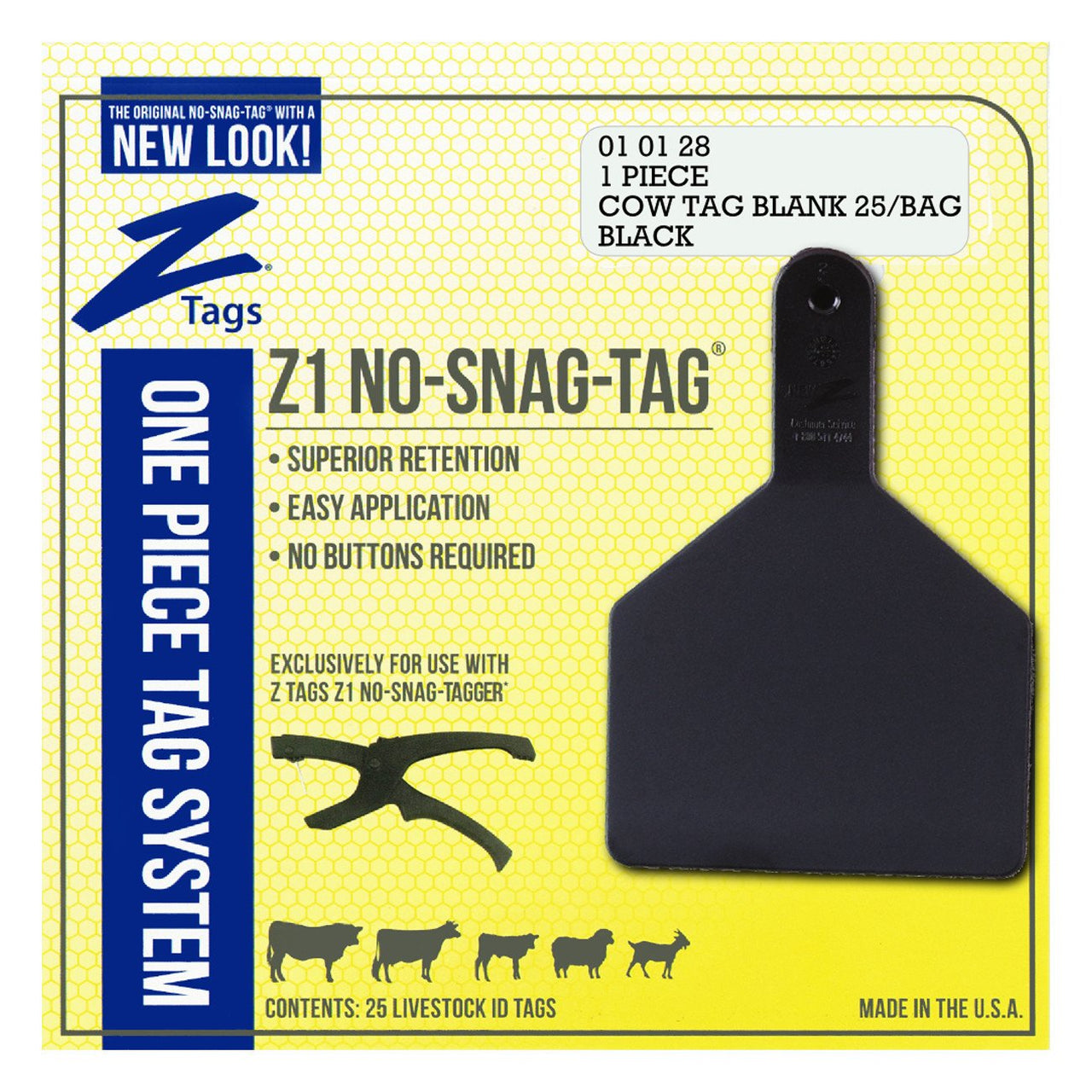 Z Tags 1 piece cow blank (Black)