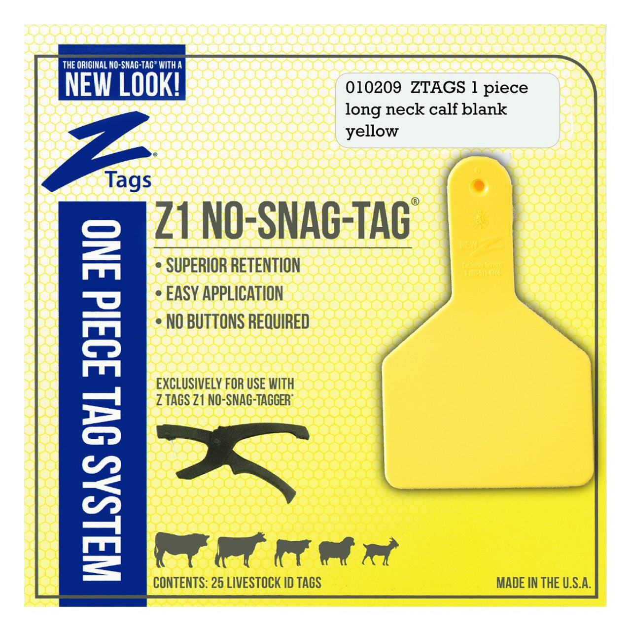 Z Tags 1 piece long neck calf blank (Yellow) 25 pack