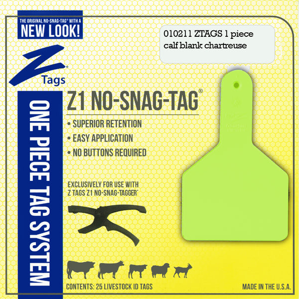 Z Tags 1 Piece Long Neck Calf Blank (Chartreuse) 25 Pack - 1 Piece Long Neck Calf Blank Tag Z Tags - Canada