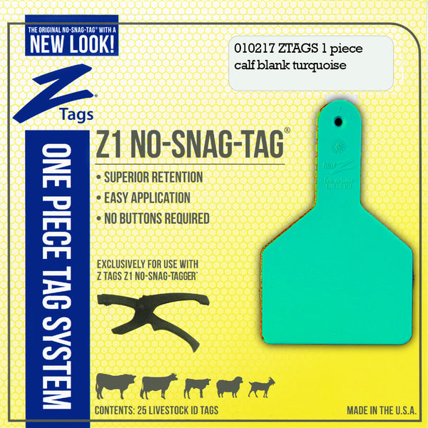 Z Tags 1 Piece Long Neck Calf Blank (Turquoise) 25 Pack - 1 Piece Long Neck Calf Blank Tag Z Tags - Canada