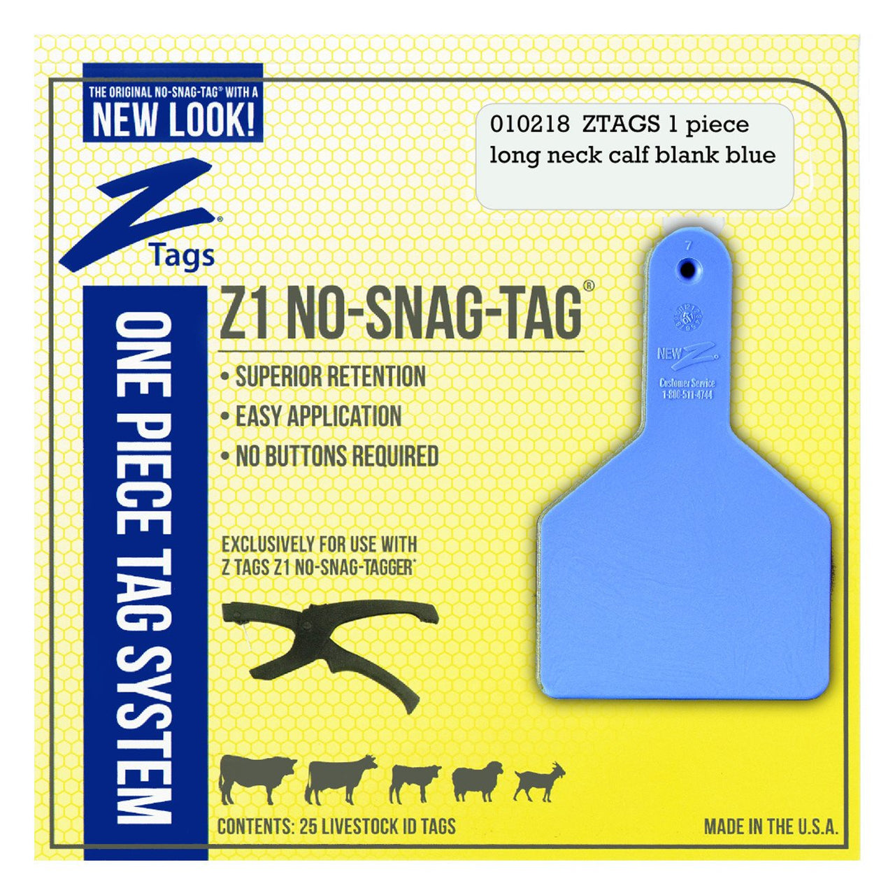 Z Tags 1 piece long neck calf blank (Blue) 25 pack