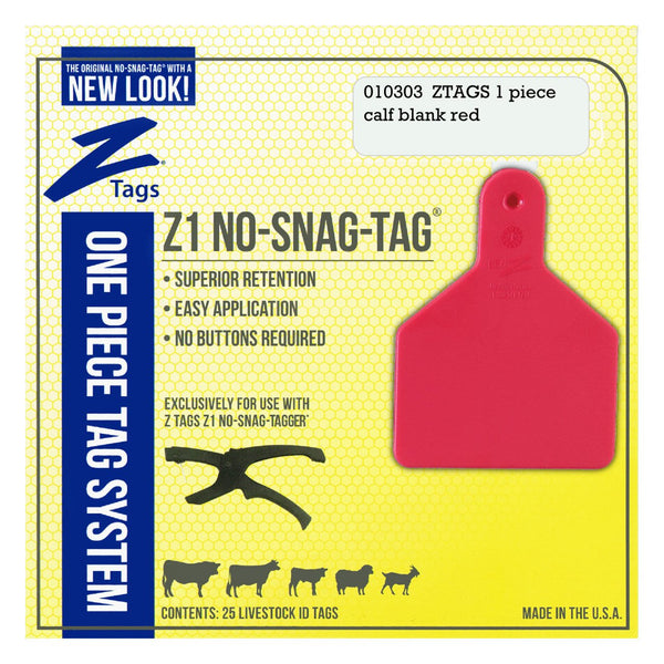 Z Tags 1 piece calf blank (Red) 25 pack