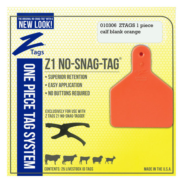Z Tags 1 piece calf blank (Orange) 25 pack