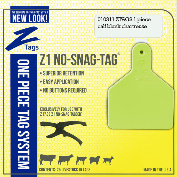 Z Tags 1 Piece Calf Blank (Chartreuse) 25 Pack - 1 Piece Short Neck Calf Blank Tag Z Tags - Canada
