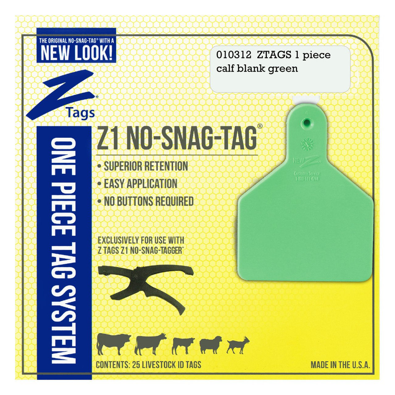 Z Tags 1 Piece Calf Blank (Green) 25 Pack - 1 Piece Short Neck Calf Blank Tag Z Tags - Canada