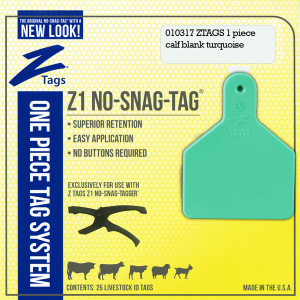 Z Tags 1 Piece Calf Blank (Turquoise) 25 Pack - 1 Piece Short Neck Calf Blank Tag Z Tags - Canada