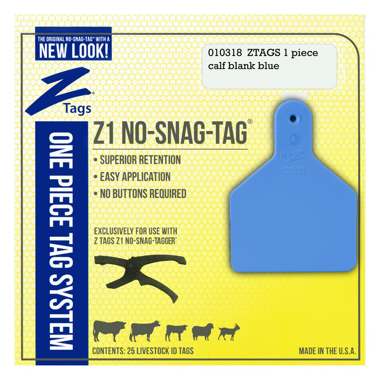 Z Tags 1 Piece Calf Blank (Blue) 25 Pack - 1 Piece Short Neck Calf Blank Tag Z Tags - Canada