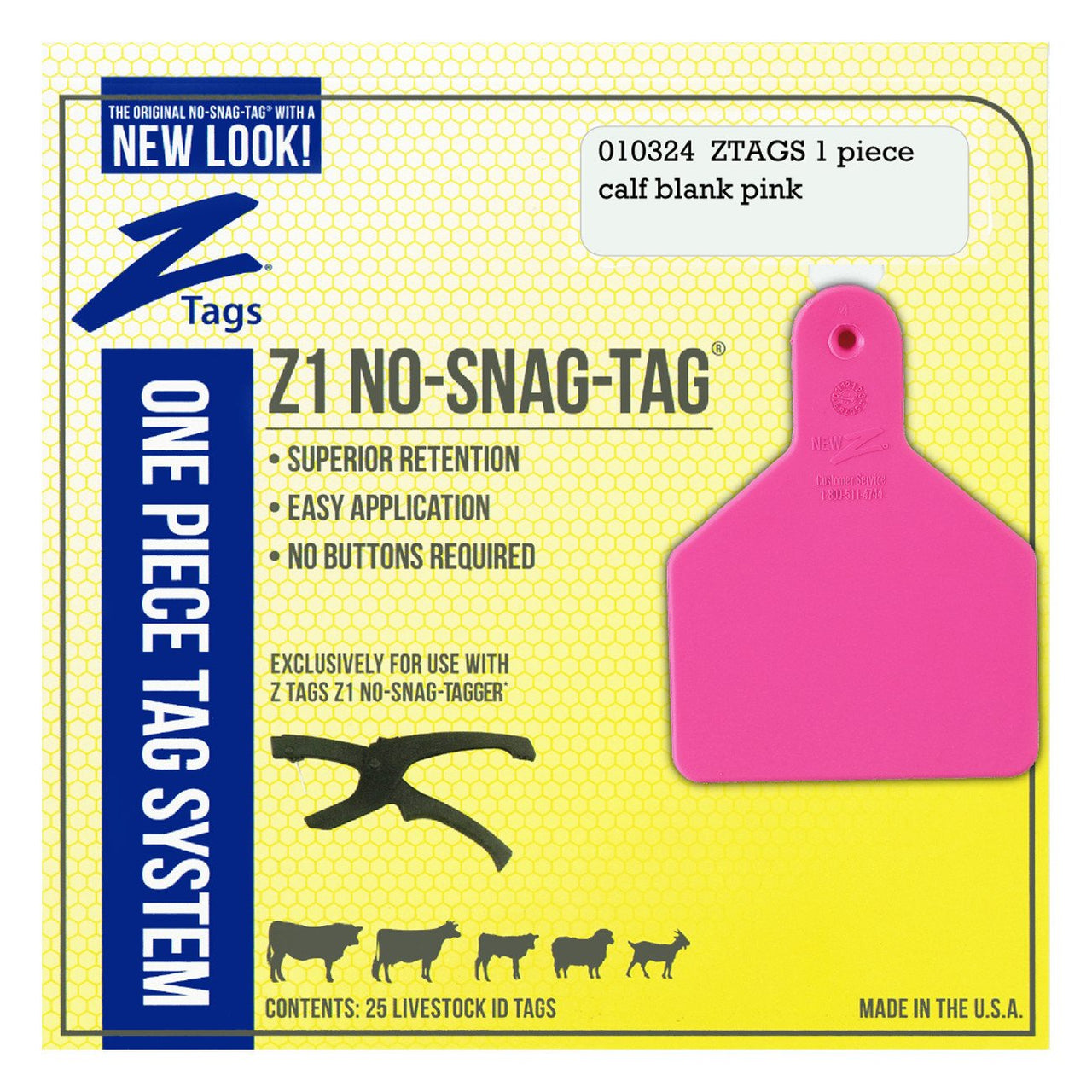 Z Tags 1 Piece Calf Blank (Pink) 25 Pack - 1 Piece Short Neck Calf Blank Tag Z Tags - Canada