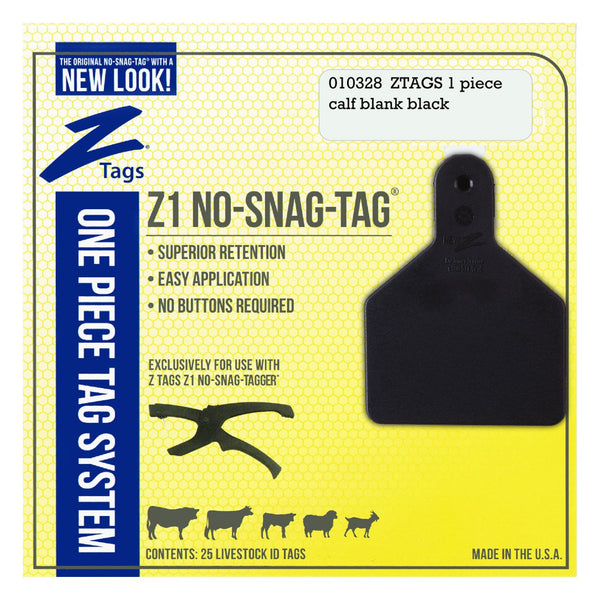 Z Tags 1 Piece Calf Blank (Black) 25 Pack - 1 Piece Short Neck Calf Blank Tag Z Tags - Canada