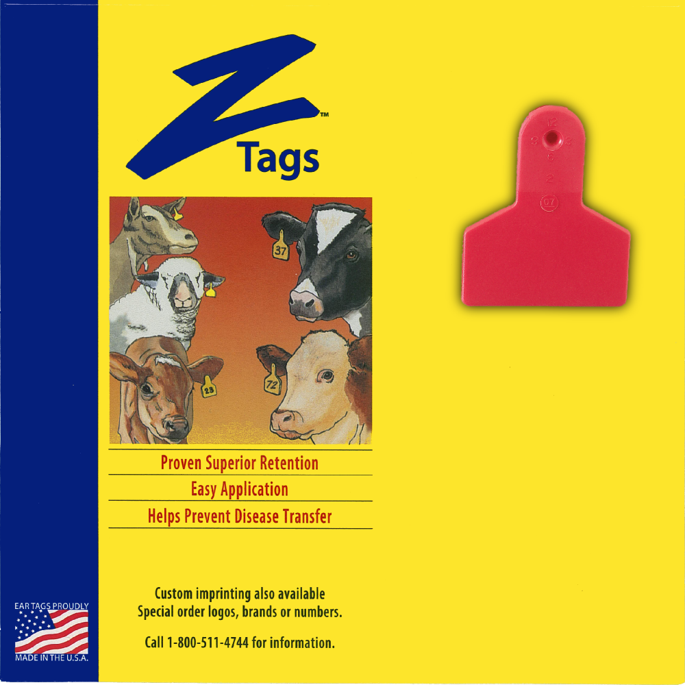 Z Tags 1 piece small animal blank (Red)