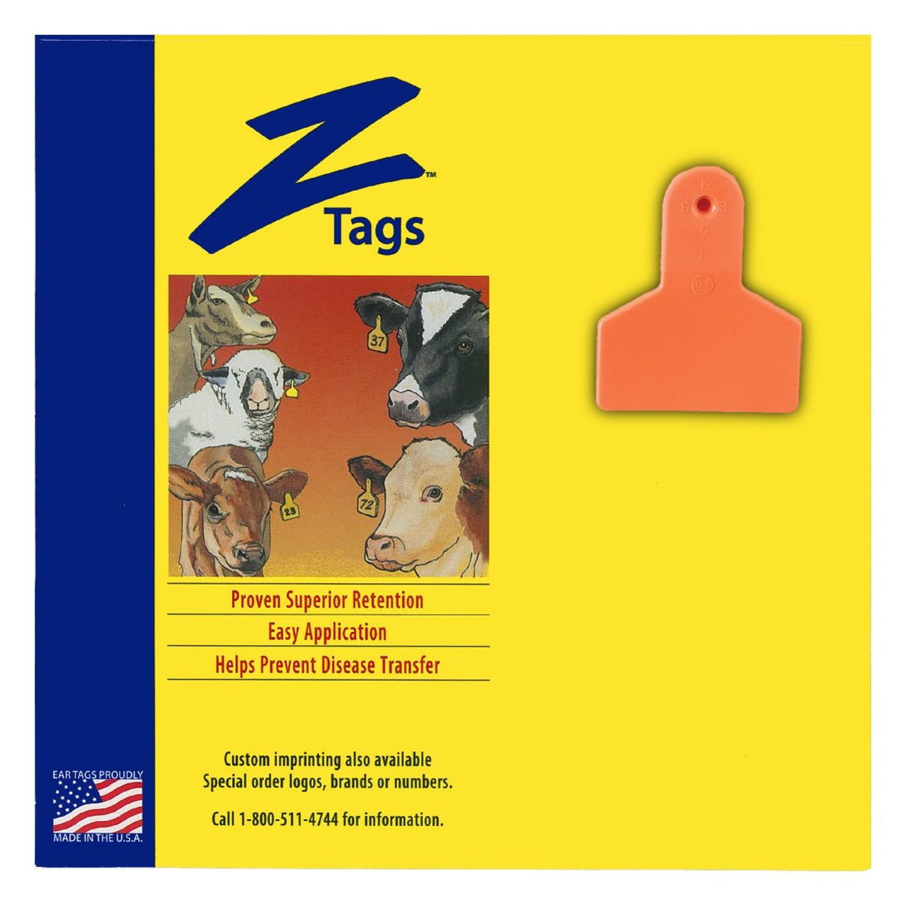 Z Tags 1 piece small animal blank (Orange) 25 pack