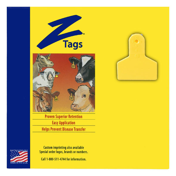 Z Tags 1 Piece Small Animal Blank (Yellow) 25 Pack - 1 Piece Small Animal Blank Tag Z Tags - Canada
