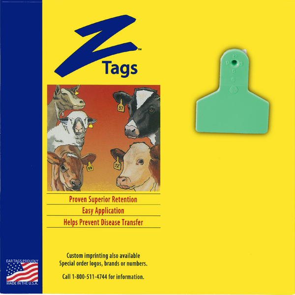 Z Tags 1 Piece Small Animal Blank (Green) 25 Pack - 1 Piece Small Animal Blank Tag Z Tags - Canada