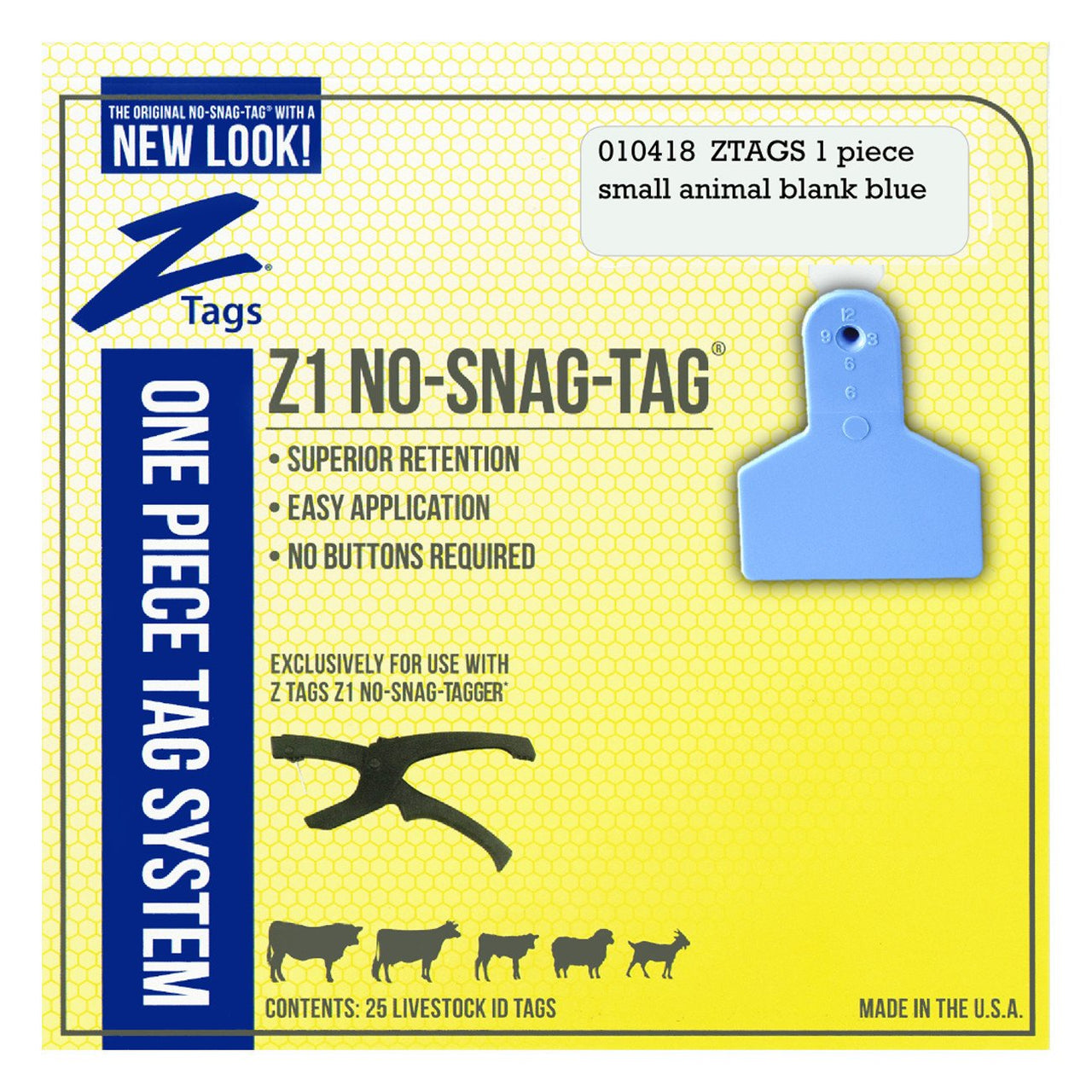 Z Tags 1 Piece Small Animal Blank (Blue) 25 Pack - 1 Piece Small Animal Blank Tag Z Tags - Canada