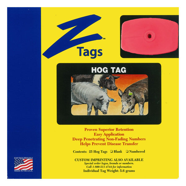 Z Tags 1 Piece Hog Blank (Red) 25 Pack - 1 Piece Hog Blank Tag Z Tags - Canada