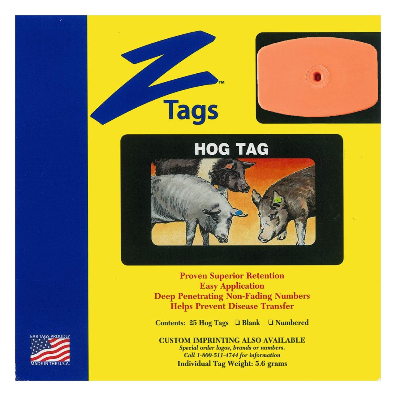 Z Tags 1 Piece Hog Blank (Orange) 25 Pack - 1 Piece Hog Blank Tag Z Tags - Canada