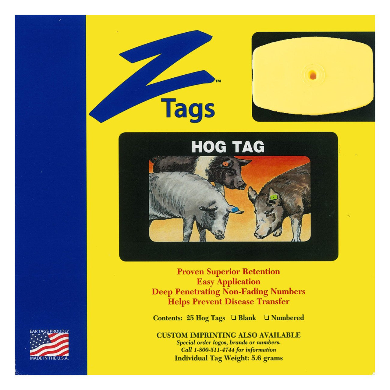 Z Tags 1 piece hog blank (Yellow) 25 pack