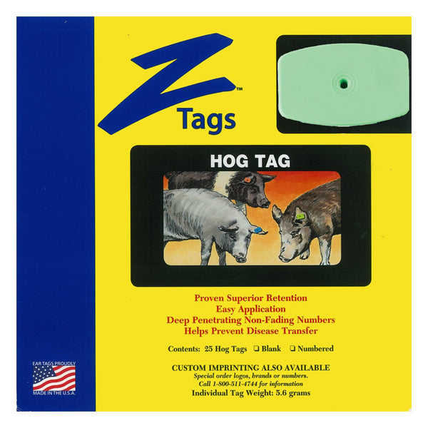 Z Tags 1 Piece Hog Blank (Green) 25 Pack - 1 Piece Hog Blank Tag Z Tags - Canada