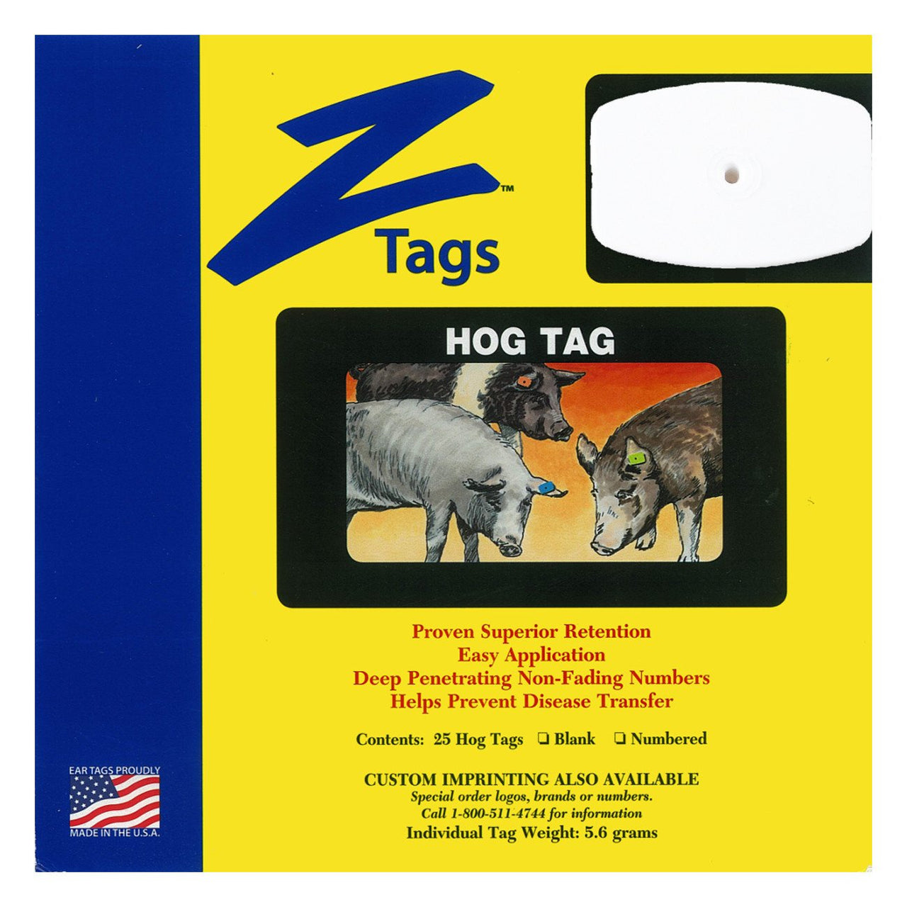 Z Tags 1 Piece Hog Blank (White) 25 Pack - 1 Piece Hog Blank Tag Z Tags - Canada
