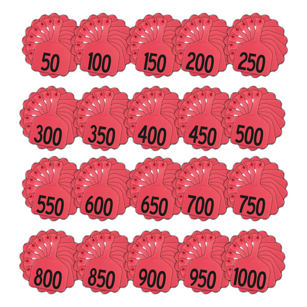 Z Tags 1 Piece Feedlot Stamped 1-1000 In Bundles Of 50 (Red) - Pre-Printed Tags Z Tags - Canada