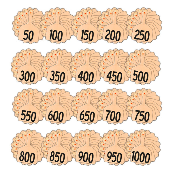 Z Tags feedlot pre-printed tags numbered 1-1000 light orange (Peach)