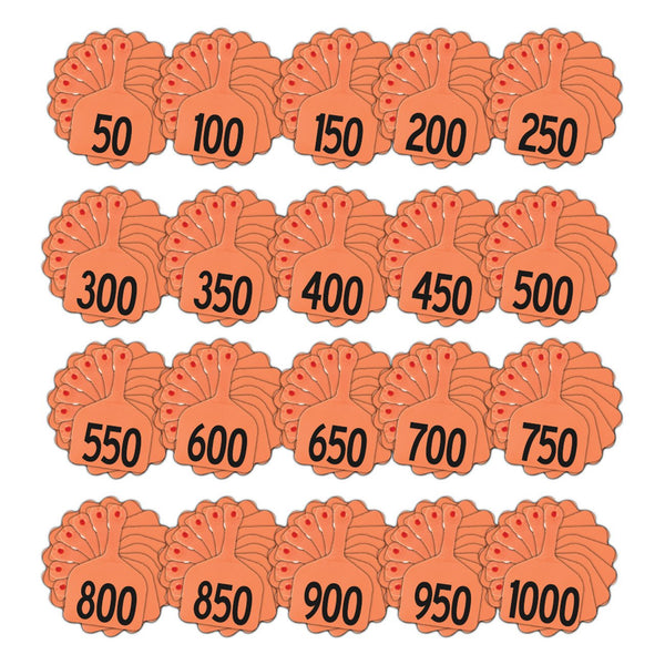 Z Tags feedlot pre-printed tags numbered 1-1000 (Orange)