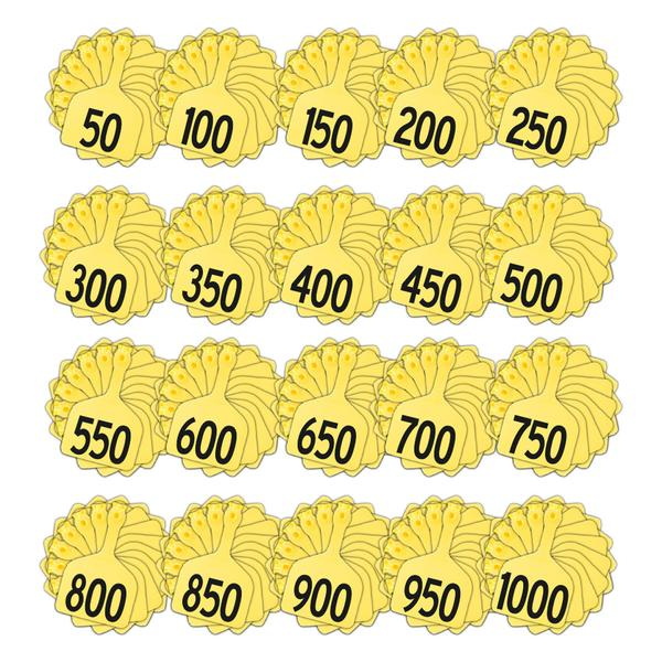 Z Tags 1 Piece Feedlot Stamped 1-1000 In Bundles Of 50 (Yellow) - Pre-Printed Tags Z Tags - Canada