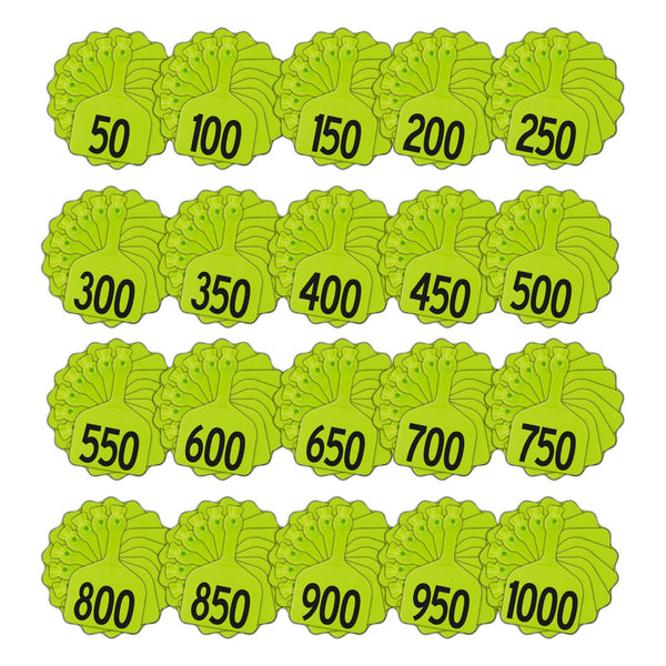 Z Tags 1 Piece Feedlot Stamped 1-1000 In Bundles Of 50 (Chartreuse) - Pre-Printed Tags Z Tags - Canada