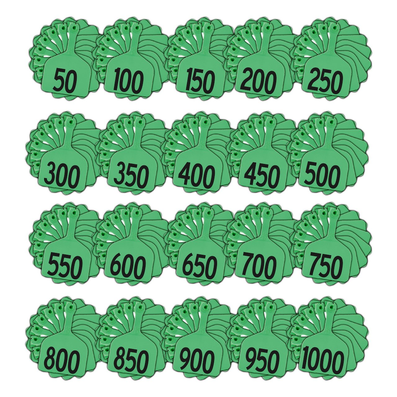 Z Tags 1 Piece Feedlot Stamped 1-1000 In Bundles Of 50 (Green) - Pre-Printed Tags Z Tags - Canada