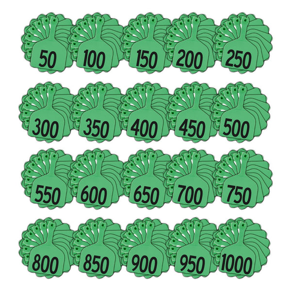 Z Tags feedlot pre-printed tags numbered 1-1000 (Green)