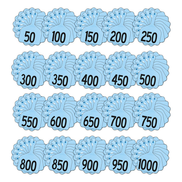 Z Tags 1 Piece Feedlot Stamped 1-1000 In Bundles Of 50 (Blue) - Pre-Printed Tags Z Tags - Canada