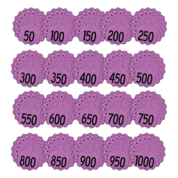 Z Tags feedlot pre-printed tags numbered 1-1000 (Purple)