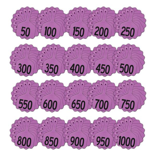 Z Tags 1 Piece Feedlot Stamped 1-1000 In Bundles Of 50 (Purple) - Pre-Printed Tags Z Tags - Canada