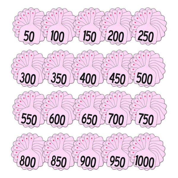 Z Tags feedlot pre-printed tags numbered 1-1000 (Light pink- Rose)