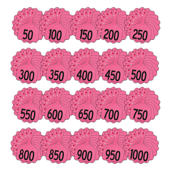 Z Tags Feedlot Pre-Printed Tags Numbered 1-1000 (Pink) - Feedlot Tags Pre-Printed Tags Numbered 1-1009 Z Tags - Canada