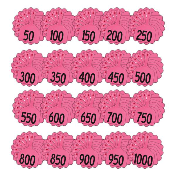 Z Tags 1 Piece Feedlot Stamped 1-1000 In Bundles Of 50 (Pink) - Pre-Printed Tags Z Tags - Canada